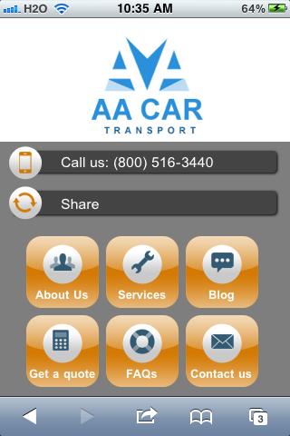 AA Car Transport Mobile Site